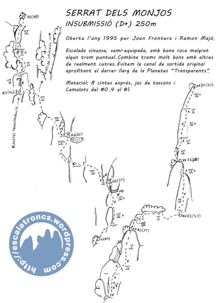Ressenya de la via Insubmissió al Serrat dels Monjos (Montserrat)