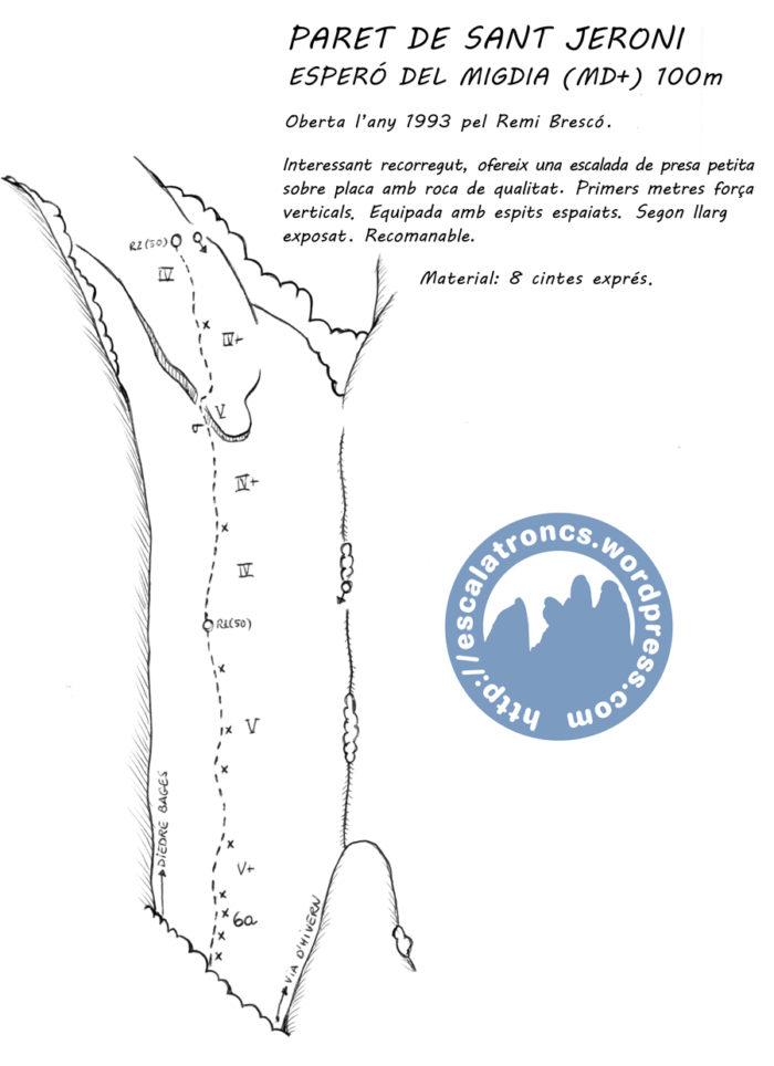 Ressenya de la via Esperó del Migdia a la Paret de Sant Jeroni