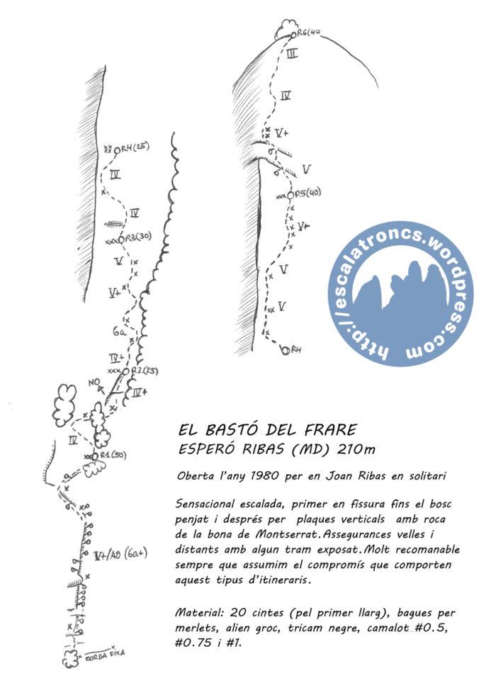 Ressenya de la via Esperó Ribas al Bastó del Frare (montserrat)