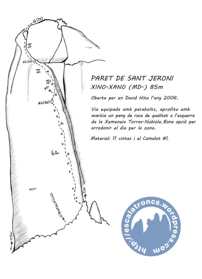 Ressenya de la via Xino-Xano a la Paret de Sant Jeroni (Montserrat)